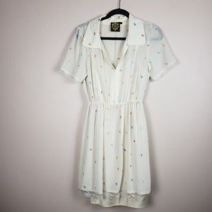 Nishe White Embroidered Shirt Dress size 8